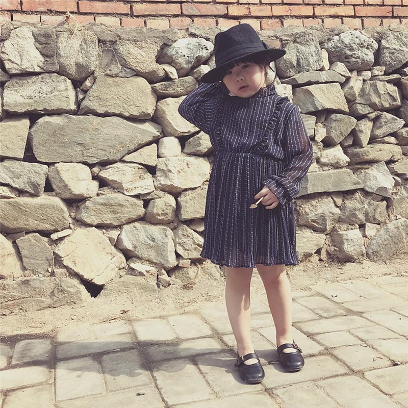 洋娃娃慢慢 2018新款儿童雪纺连衣裙女童公主裙春秋宝宝长袖裙子