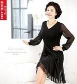 时尚代购韩国中老年女连衣裙 妈妈装V领长袖裙修身中裙2013秋792