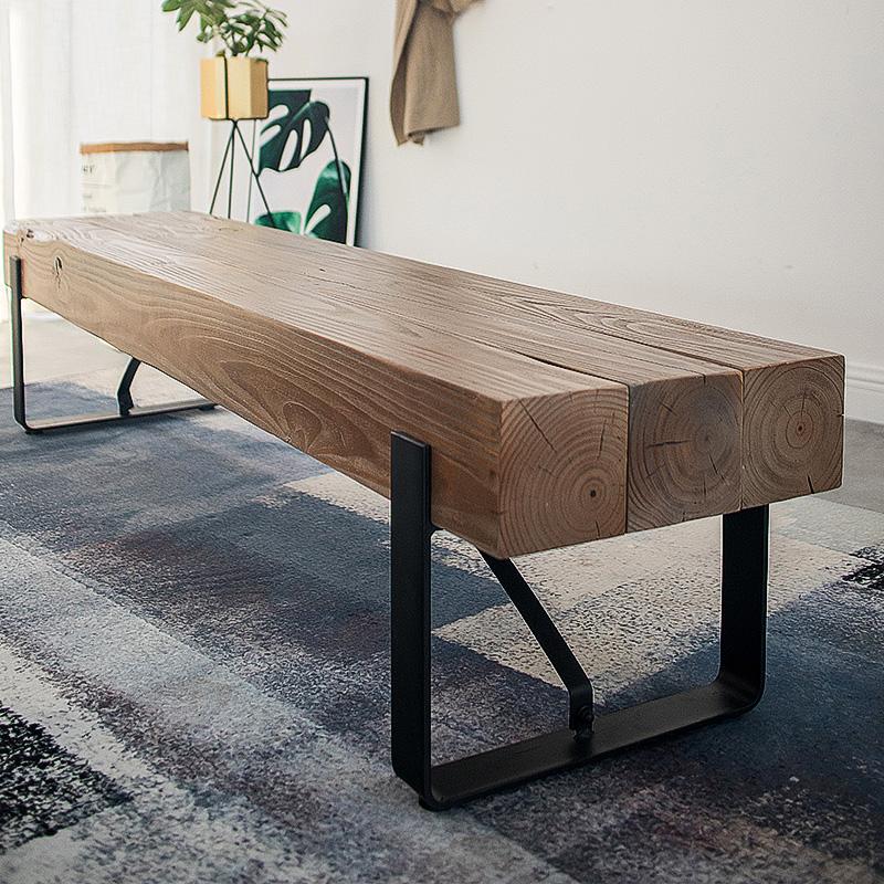 北欧实木电视柜铁艺工业风电视桌客厅简约原木长条凳子玄关换鞋凳