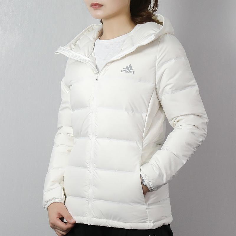 Adidas阿迪达斯羽绒服女2018冬季新款运动服保暖短款连帽棉服棉袄