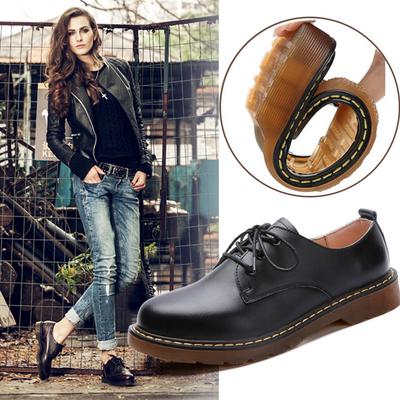 秋季英伦小皮鞋马丁鞋圆头牛津单鞋学院风女鞋平底平跟低帮马丁靴