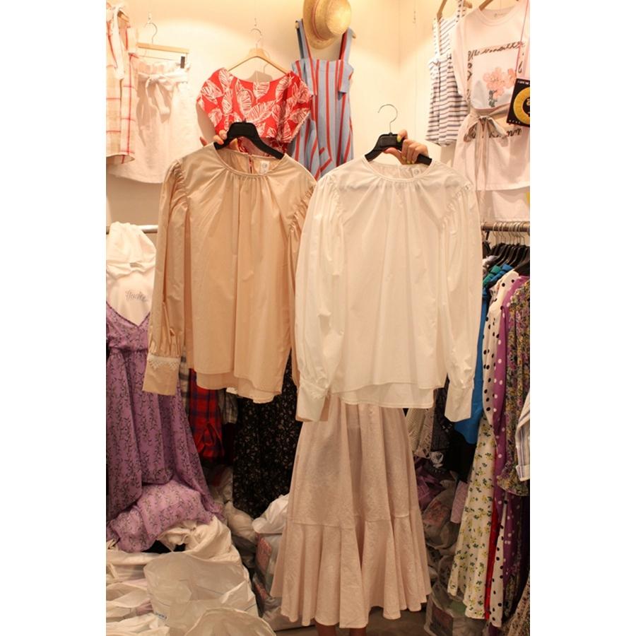 韩国东大门正品代购女装2018夏装女士圆领长袖百搭衬衫左右色均码