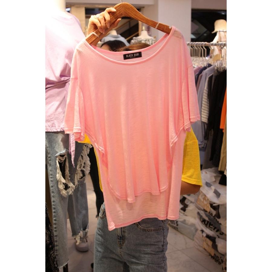 韩国东大门正品代购女装2018夏装女士宽松短袖不规则T恤衫均码