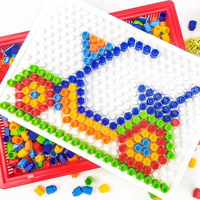六角钉魔盘益智蘑菇智慧彩色玩具拼装拼图锻炼动手能力幼儿园插板