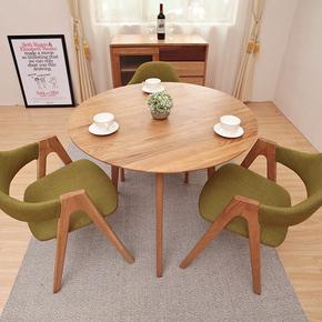 北欧纯实木圆桌咖啡桌 原木白橡木胡桃餐厅家具简约现代创意特价
