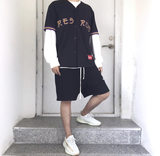 Spot 19 BASEBALL JERSEY Japanese Embroidered Baseball Uniform Short Sleeve half sleeve jacket fashionable couple style