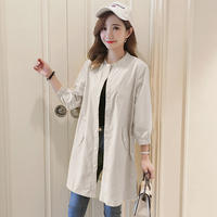 2019 new spring and autumn women's loose thin coat female long section Korean version of the waist waitmore single windbreaker female