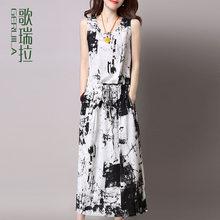 歌瑞拉2019新款连衣裙女夏 中长款亚麻水墨印花裙显瘦大码背心裙图片