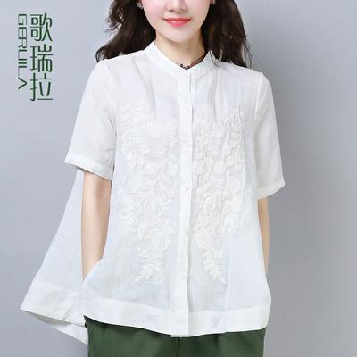 歌瑞拉棉麻衬衫女夏2018新款纯色大码宽松绣花短袖衬衣女休闲上衣