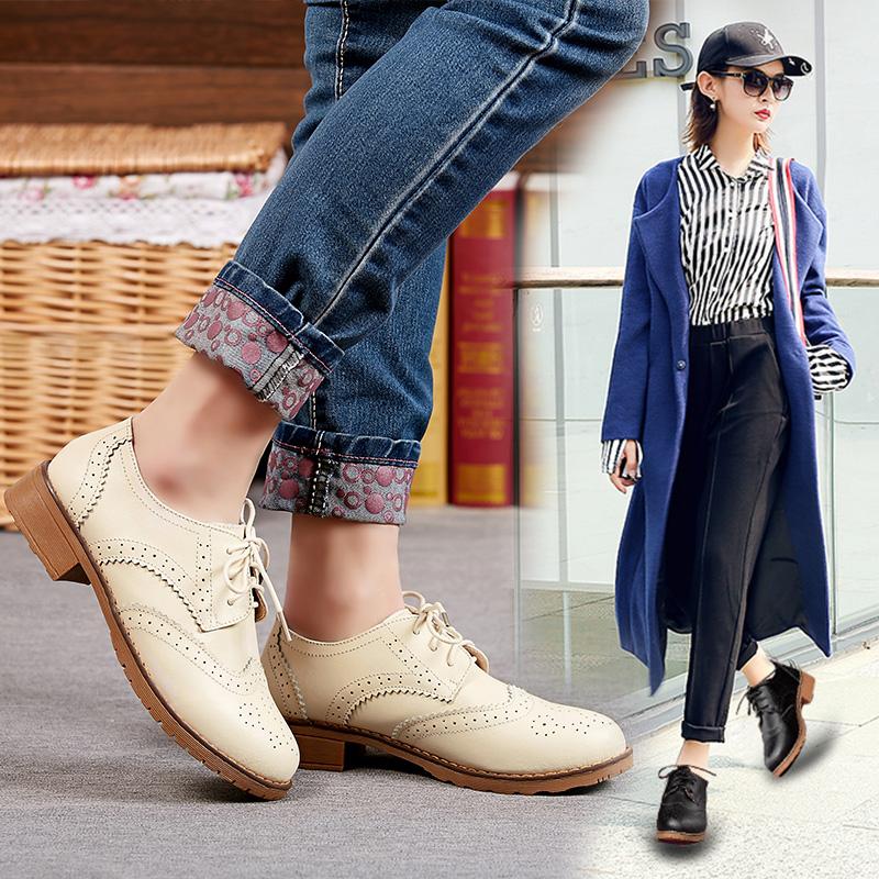 花花公子秋季女鞋英伦单鞋真皮平底鞋小皮鞋休闲鞋平跟布洛克皮鞋