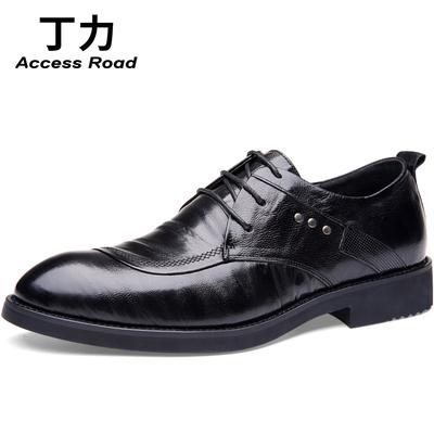 夏季男士内增高车缝线英伦头层羊皮低帮系带职场商务正装真皮皮鞋