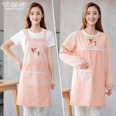 围裙韩版时尚厨房包邮罩衣成人女长袖可爱围腰家用防油做饭工作服