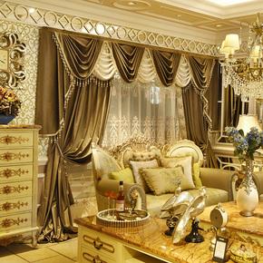 55色加厚法国遮光丝绒布料奢华美式欧式卧室客厅窗帘幔头成品定制