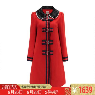 LuLualways我爱露露大红色羊毛毛领毛呢礼服喜宴大衣风衣LID6051