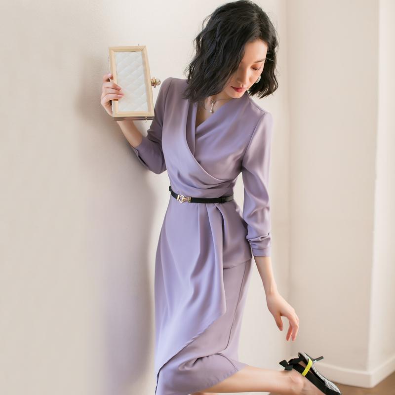 雪纺连衣裙紫