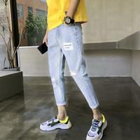夏季男款牛仔裤子修身型破洞超薄款9九分男生小脚8八分短裤韩版潮
