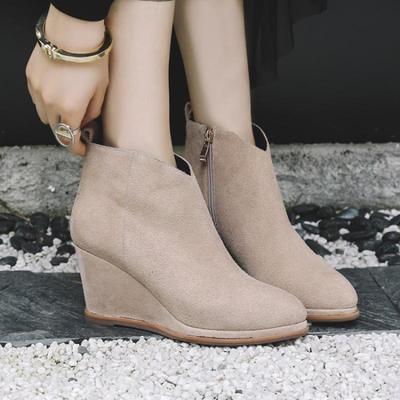 冬靴子女坡跟圆头真皮磨砂短靴性感高跟百搭测拉链高跟女靴子