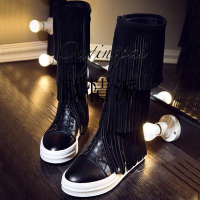 全牛皮高筒靴女厚底松糕鞋真皮流苏靴冬季新款圆头中跟女靴子时尚