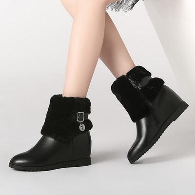 冬季雪地靴冬天白色棉鞋中筒靴高跟厚底平底女靴子鞋子百搭毛毛靴
