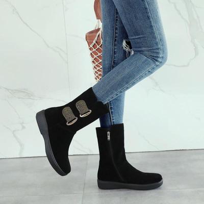 2018女秋冬圆头坡跟中筒靴子厚底防水台水钻高跟鞋磨砂保暖骑士靴