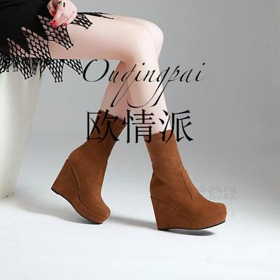 欧美真皮女靴牛皮坡跟厚底高跟骑士靴女瘦腿高筒靴秋冬全皮长筒靴