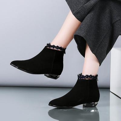 坡跟磨砂皮短靴女内增高踝靴女鞋欧美大码平底流苏女靴短筒马丁靴