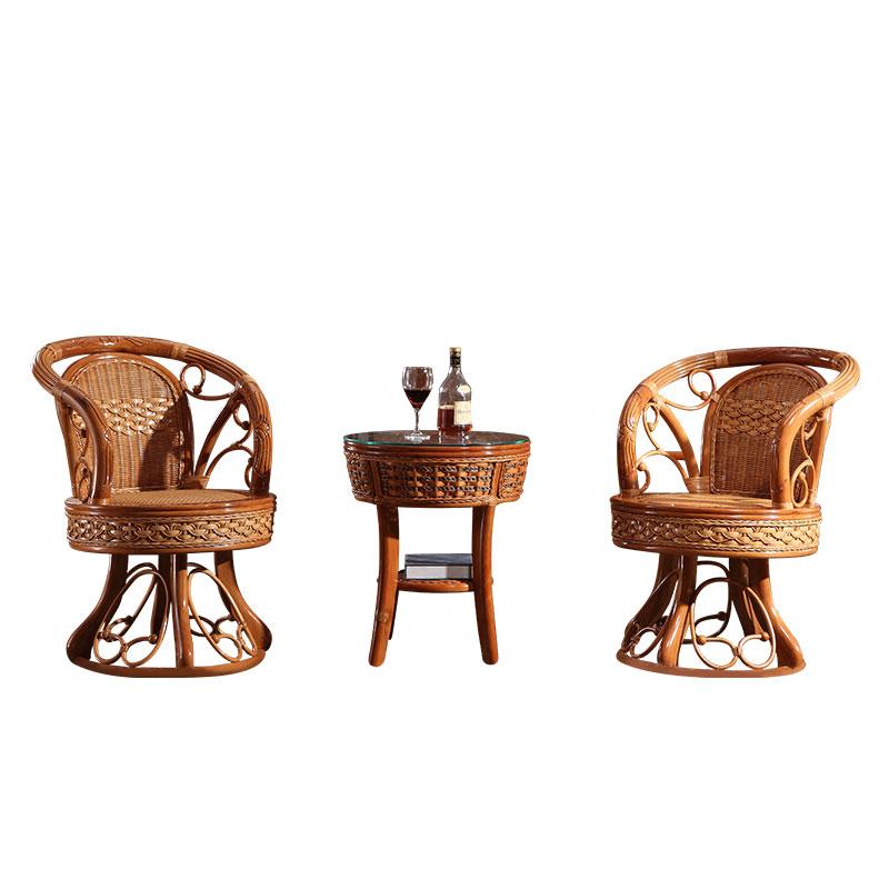真藤椅茶几三件套扭藤转椅藤家具植物真藤休闲椅组合藤编阳台桌椅