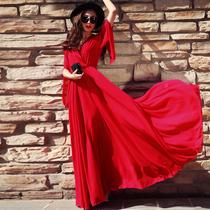 2018女新款夏气质韩版显瘦雪纺超长款红色沙滩裙子长裙连衣裙飘逸