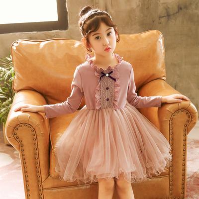 女童秋季连衣裙小女孩长袖加绒儿童装中大童洋气公主裙子春秋冬季