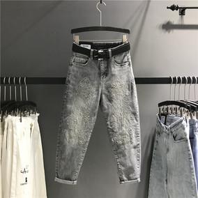 欧洲站2018夏季新款重工刺绣灰色高腰牛仔裤女宽松显瘦九分哈伦裤