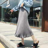 Exclusive custom! Korea autumn and winter pregnant women's wooden ear long knit skirt A word wool pleated umbrella skirt