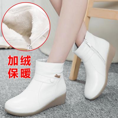 护士鞋冬季女2017新款短靴韩版坡跟医院防滑保暖白色加绒护士棉鞋