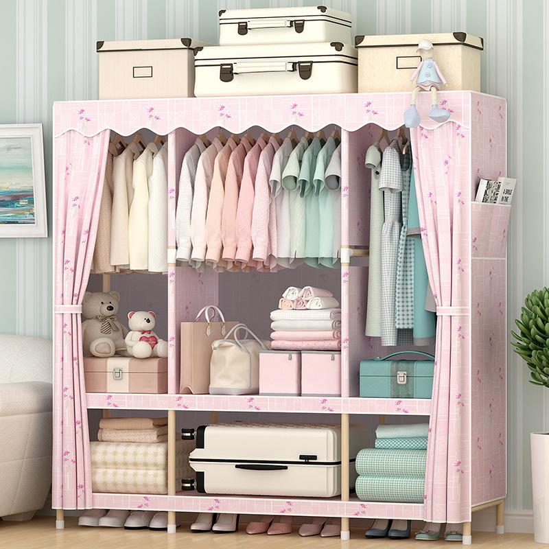 棉布简易实木衣柜