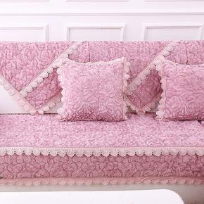 欧式加厚毛绒沙发垫布艺时尚防滑垫法兰绒冬季全包沙发套简约现代