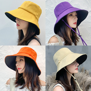渔夫帽女夏韩版潮日系网红双面遮脸防紫外线帽子大沿防晒帽遮阳帽