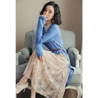 针织连衣裙女秋冬蕾丝过膝显瘦毛衣裙子两件套冬季配大衣的长裙子