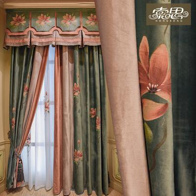 绿色手绘新中式窗帘客厅遮光绒布大气现代中式古典窗纱 康伯巴奇