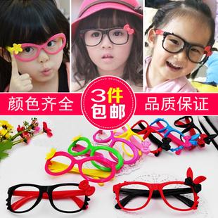 韩版潮儿童眼镜框宝宝眼镜无镜片男女童韩国小女孩眼镜架包邮黑色