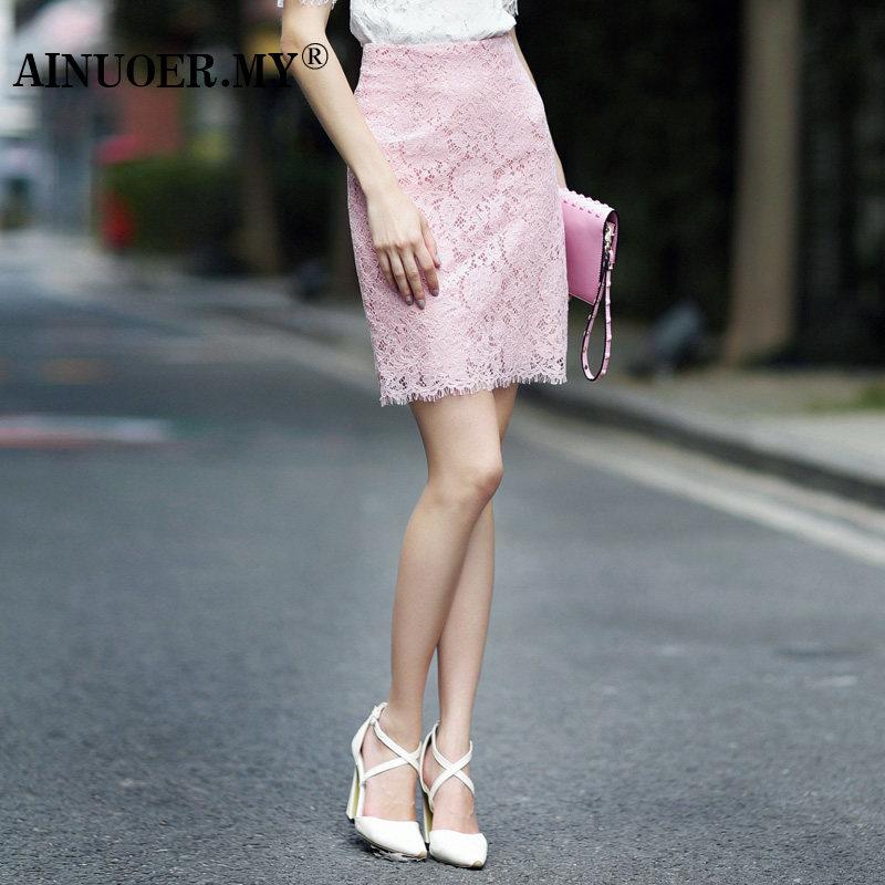 粉色蕾丝修身裙