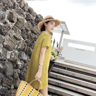 女装夏装2019新款韩版小清新裙子娃娃领休闲宽松黄色直筒连衣裙款