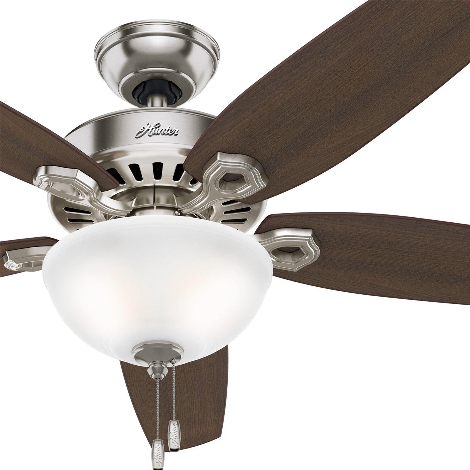 欧美代购 照明风扇 猎人56拉丝镍吊扇套管白色碗式风扇灯客厅装饰