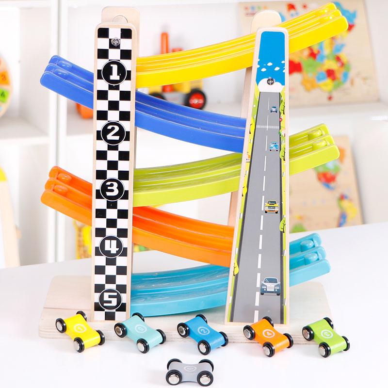 儿童小汽车玩具男孩1-2-3周岁一岁半宝宝惯性滑翔轨道车回力耐摔