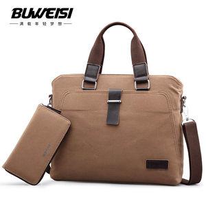 布维斯手提包男士休闲帆布斜挎包商务背包包电脑单肩包男包公文包