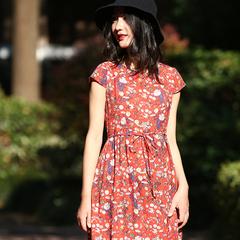 女士棉短袖连衣裙