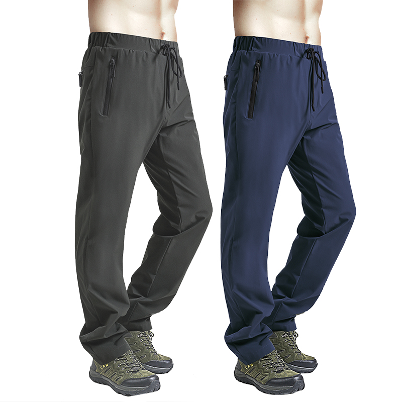 户外速干裤男夏季薄款弹力快干长裤透气登山裤运动宽松大码冲锋裤