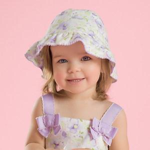 戴维贝拉夏季女童宝宝印花遮阳帽渔夫帽