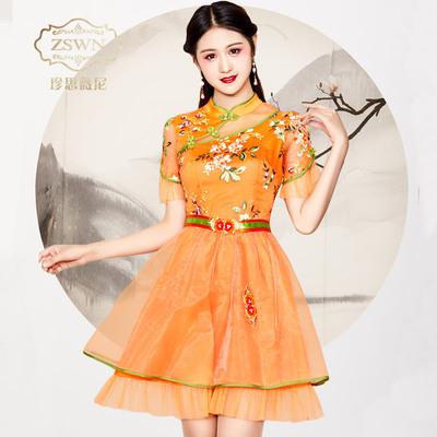 超仙裙子女夏季2018新款时尚刺绣欧根纱收腰连衣裙气质复古女装潮
