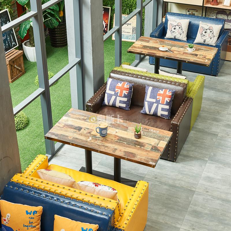 定制咖啡厅沙发卡座 复古休闲 漫吧茶西餐厅甜品馆奶茶店桌椅组合