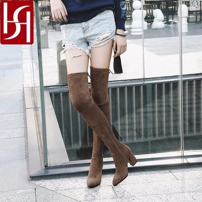 SH 冬季尖头过膝弹力靴真皮高跟系带长靴棕色粗跟百搭女靴子S12Y