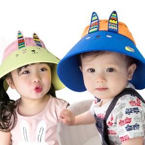 柠檬宝宝夏季帽子男童女童儿童潮大帽檐防晒遮阳帽空顶帽2-4-12岁
